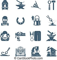 Blacksmith Black Icons Set - Blacksmith black icons set with...