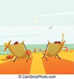 Beach Rest Illustration - Beach rest background with a...