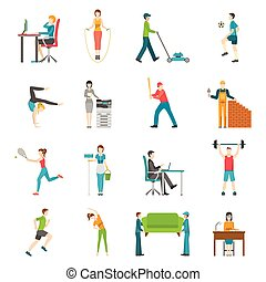 Physical Activity Flat Icons - Set of flat color icons...
