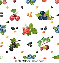 Fresh Berries Seamless Colorful Pattern - Fresh wild and...