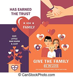 Charity Adoption Flat Banners Composition Design -...