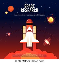 Space Research And Exploration Flat Banner - Space research...