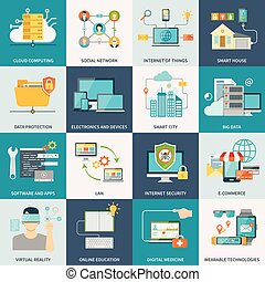 Information Technologies Concept Flat Icons - Information...