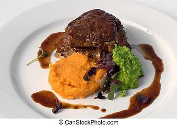 Sirloin Steak with Sweet Potato Mash - Pasture-fed Sirloin...