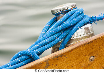 Sailing boat detail - from the capstan rope sailing, closeup