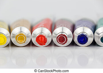 many colorful paint tubes closeup - many color paint tubes...