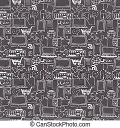 Seamless pattern hand drawn sketch icons for business,internet and office. Vector