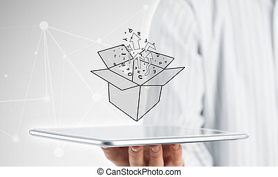 Thinking outside the box concept - Close view of businessman...