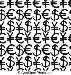 Seamless pattern hand drawn sketch icons currency. Vector