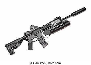 AR-15, (M4A1), carbine, e, M203, granada, louncher, isolado,...