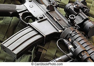 close-up, de, M4A1, (AR-15), carbine,