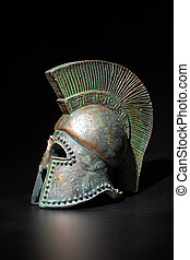 Ancient Greek Helmet Athenian Style in Low Key