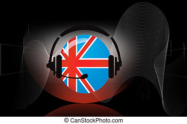 Headphone - Illustration of flag round and head phone