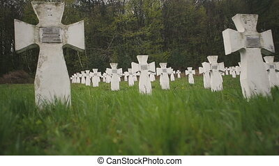 Cemetery of white military crosses 4