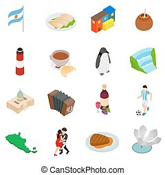 Argentina set icons in isometric 3d style isolated on white...