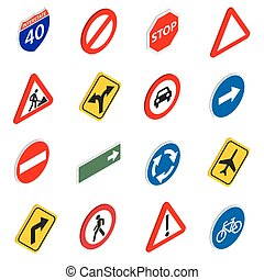 Road Sign Set icons in isometric 3d style isolated on white...
