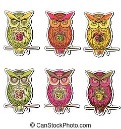 sticker set of multicolored owls in vector