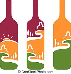Vector concept of wine bottles with trees and mountains