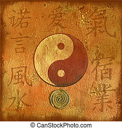 artwork yin and yang - artwork with yin and yang symbol for,...
