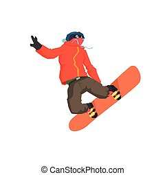 Snowboarder Mid-air Illustration - Snowboarder Mid-air Flat...