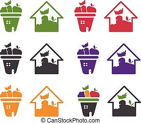 Illustration of icons house with vegetables and fruits. Vector