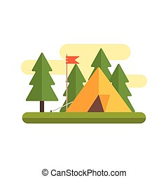 Tent In Woods Illustration - Tent In Woods IPrimitive Style...