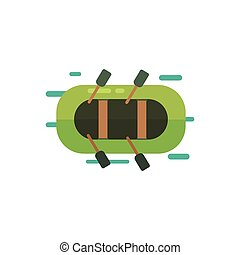 Inflatable Boat From Above Primitive Style Graphic Colorful...