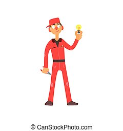Profession Electrician Vector Illustration - Profession...