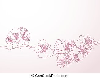 blossoming tree line art hand drawing. spring stylish...