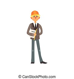 Profession Construction Superintendant Vector Illustration -...
