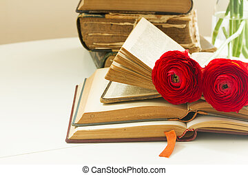 Old books with rose flower - Pile of old books with red...