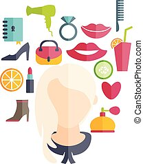 Flat design of a girl with hairstyle and icons of various...