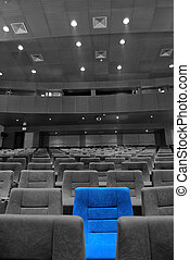 Movie Theater Seats - Modern movie theater hall and the blue...