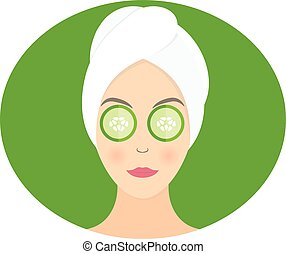 Flat design of a woman with mask of cucumber on her eyes. Vector illustration