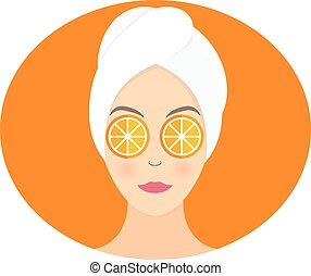 Flat design of a woman with mask of orange on her eyes. Vector illustration