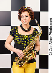saxophonist - Beautiful saxophone player in retro style....