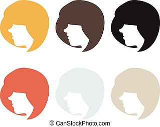 Silhouette woman with hair. vector illustration