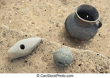 Clay pot, archeological excavations