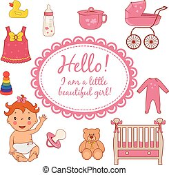 Set icons of cute baby girl. Vector