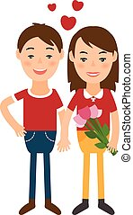 Illustration of man and woman in flat design. Vector