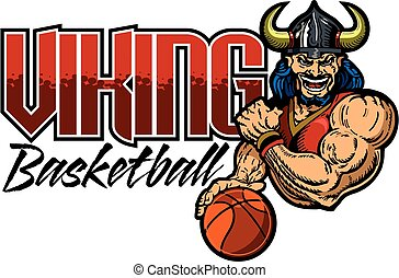 viking basketball team design with muscular mascot for...