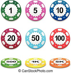 Gambling casino poker stack chips color sign set
