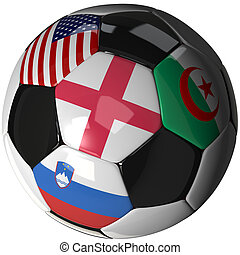Soccer ball over white with 4 flags - Group C 2010 - High...