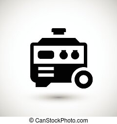 Electric generator icon isolated on grey. Vector...