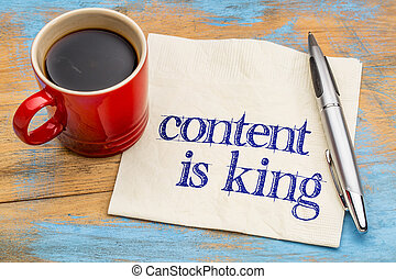 content is king on napkin