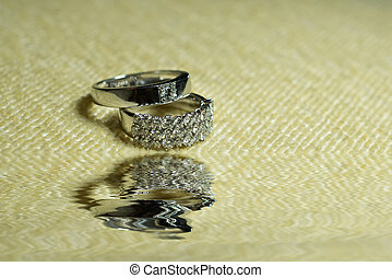 wedding rings in infinity sign. Love concept,wedding rings