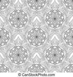Geometric flower seamless pattern black white