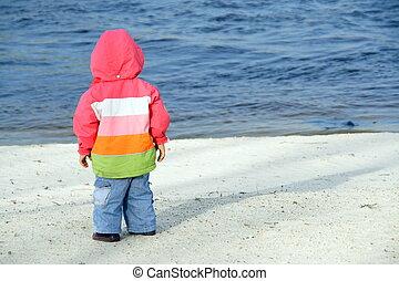kevés, tengerpart, gyalogló, gyermek