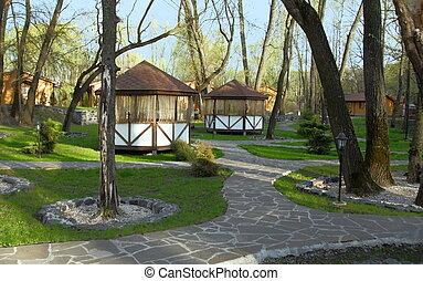 Arbors in the Garden - Wood and Textile Arbors in the Garden...