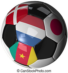 Soccer ball over white with 4 flags - Group E 2010 - High...